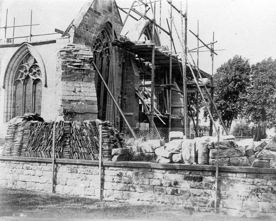 Restoration and rebuilding work at St Mary the Virgins' Church, Merevale.  1891    IMAGE LOCATION: (Atherstone Library)
