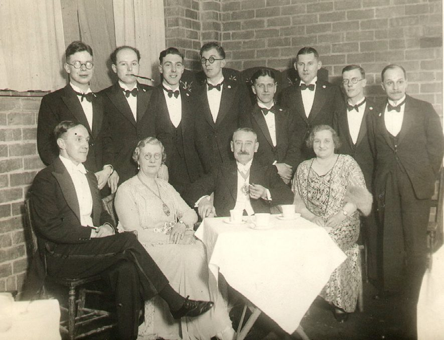 Guests at the Press ball, Rugby.  1935 |  IMAGE LOCATION: (Rugby Library) PEOPLE IN PHOTO: Ringrose as a surname, Ringrose, J, Richards as a surname, Richards, A, Piggott-Smith, Mr, Piggott-Smith as a surname, Manock as a surname, Manock, T, Manock, Mrs T, Lawson as a surname, Lawson, J, Hudson, Mr, Friend as a surname, Friend, F, Fleet, Mrs J T, Fleet, Alderman J T