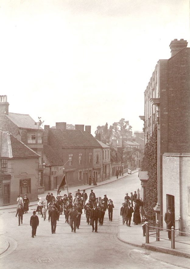 Rugby Salvation Army band marching in North Street.  1900 |  IMAGE LOCATION: (Rugby Library)