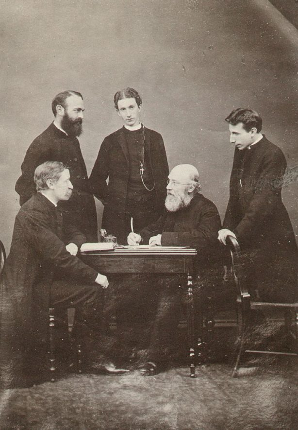 Reverend John Murray with his four curates.  He was Rector of Rugby from 1875 to1898.  1898 |  IMAGE LOCATION: (Rugby Library) PEOPLE IN PHOTO: Wilson, Revd H, Wilson as a surname, Northcote Smith, Revd, Northcote Smith as a surname, Murray, Revd John, Murray as a surname, Hedley Vicars, Revd, Hedley Vicars as a surname, Coller as a surname, Coller, Revd R L