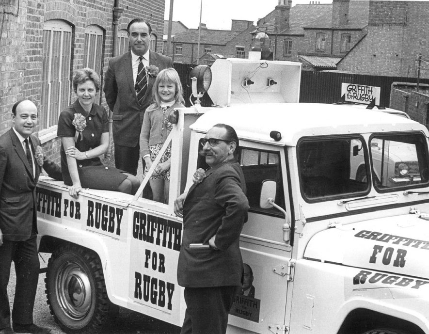 The General Election campaign of 1970 showing Huw Griffiths, the Conservative candidate, and his wife and Mr Norman Playfair the Conservative agent, Rugby.  Photograph supplied by kind permission of the Rugby Advertiser. |  IMAGE LOCATION: (Rugby Library) PEOPLE IN PHOTO: Playfair, Norman, Playfair as a surname, Griffiths, Mrs, Griffiths, Huw, Griffiths as a surname