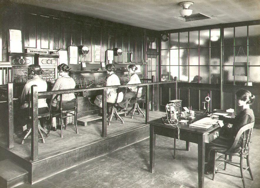 Telephone exchange at B.T.H. works,  Rugby.  1924 |  IMAGE LOCATION: (Rugby Library) PEOPLE IN PHOTO: Burton, Miss G, Burton as surname