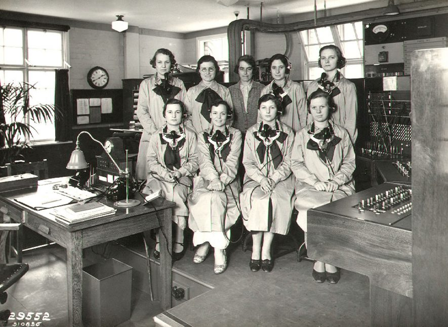 B.T.H. telephonists, Rugby.  1936  [It has been suggested that the lady front row on the right is Joan Gray aged 17 years and the girl in the back second from left is Hilda Smart.] |  IMAGE LOCATION: (Rugby Library)