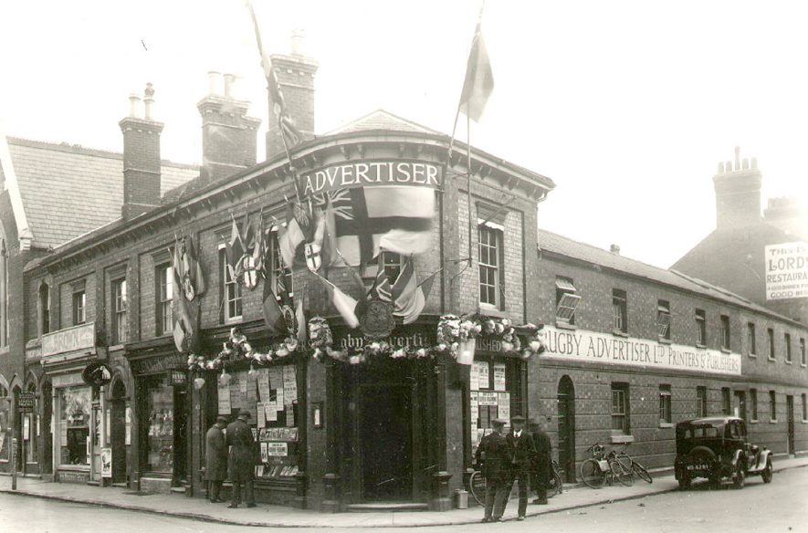 Rugby Advertiser offices in Albert Street decorated for Charter Day, 1932Photograph supplied by kind permission of the Rugby Advertiser. |  IMAGE LOCATION: (Rugby Library)