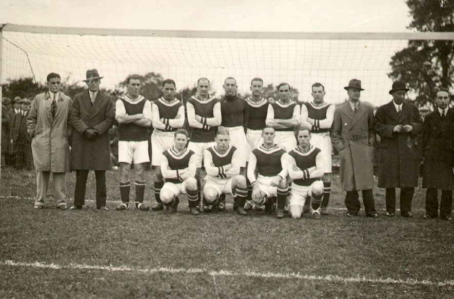 Rugby Town Football Team, who played Aston Villa on Charter Day 1932 and lost 5-0.  1932  Photograph supplied by kind permission of the Rugby Advertiser. [ This picture is in fact of the opponents Aston Villa. The Rugby Advertiser Charter Edition has a photo of the Rugby Town Team so it is hard to know how the mistake was made.] |  IMAGE LOCATION: (Rugby Library)
