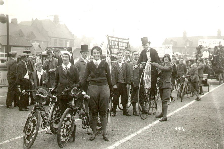Rugby Charter Day 1932 showing a Cyclists Touring Club in the procession, Rugby.  1932  Photograph supplied by kind permission of the Rugby Advertiser. |  IMAGE LOCATION: (Rugby Library)