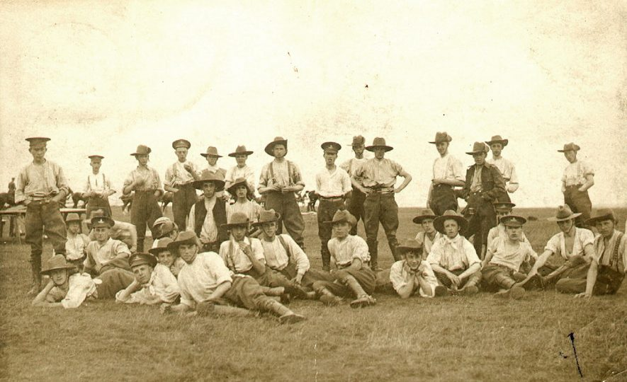 The Territorial Army, Rugby.  Possibly showing the first members.  1908 |  IMAGE LOCATION: (Rugby Library)