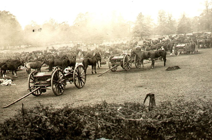 4th & 5th Batteries of Howitzer brigade at Bawnmore, Bilton.  1911 |  IMAGE LOCATION: (Rugby Library)