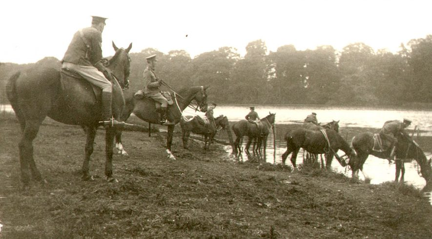 4th South Midland (Howitzer) Battery, watering their horses at Coombe Abbey.  1913 |  IMAGE LOCATION: (Rugby Library)