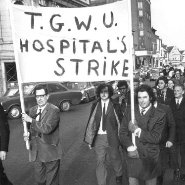 Rugby.  Hospital workers' marching