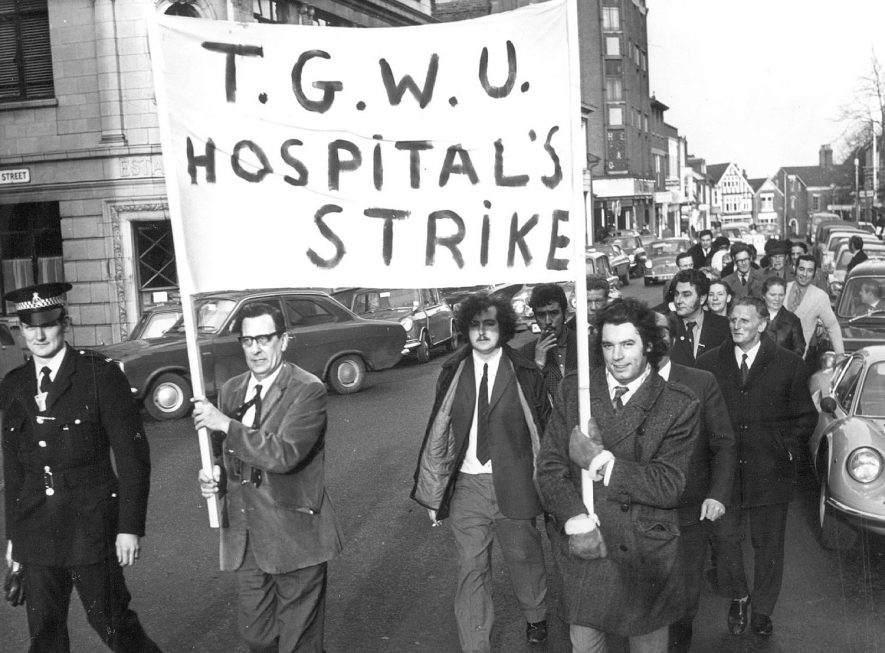 Procession by  striking hospital workers in Albert Street, Rugby.  1972