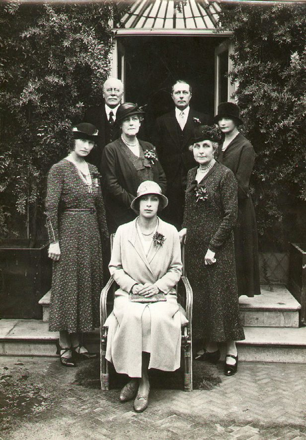 Princess Royal with guests at Coton House after a visit to St Cross  Hospital, Rugby.  The group from left to right.  Back row: Sir Archibald Edmondstone and Cdr. E R B Kemble.  Middle row: Lady Savile, Lady Coats, Mrs Arthur James and  Miss Kenyon-Stanley (Lady in waiting).  H.R.H. is seated.  1932