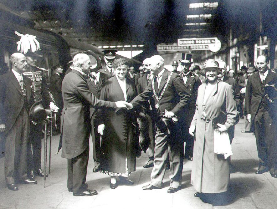 Lord Mayor of London arriving at L.M.S. Railway Station for the laying of the  foundation stone of the nurses home at St Cross Hospital and being welcomed by Ald. J. J. McKinnell, mayor of Rugby, Rugby.  1934 |  IMAGE LOCATION: (Rugby Library) PEOPLE IN PHOTO: McKinnell, J J, McKinnell as a surname, McKinnell, Mrs