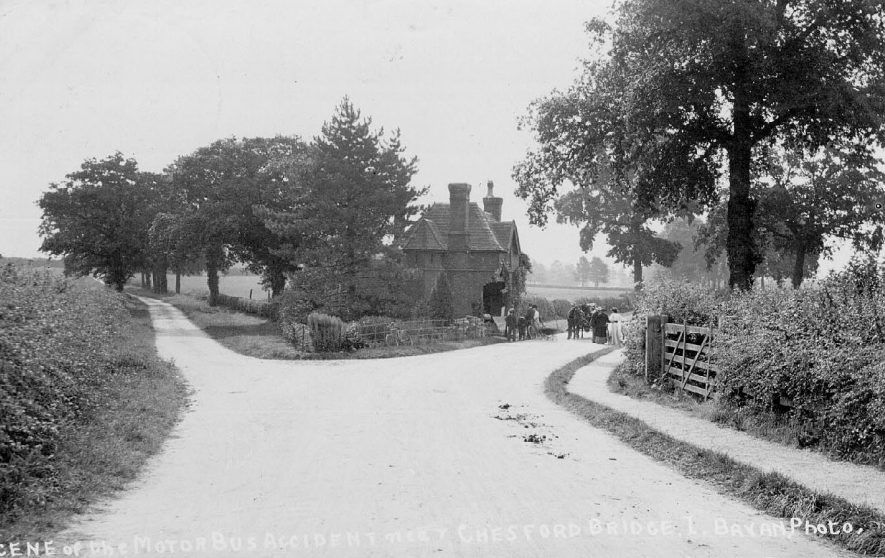 Site of motor bus accident, Chesford Bridge.  1900s |  IMAGE LOCATION: (Warwickshire County Record Office)