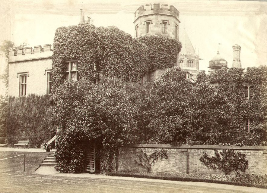 The Headmasters house at Rugby School which was built in 1809. This photograph shows the Doctor's Wall on which are read out the awards of School Exhibitions at the end of each Summer Term.  1860s    IMAGE LOCATION: (Rugby Library)