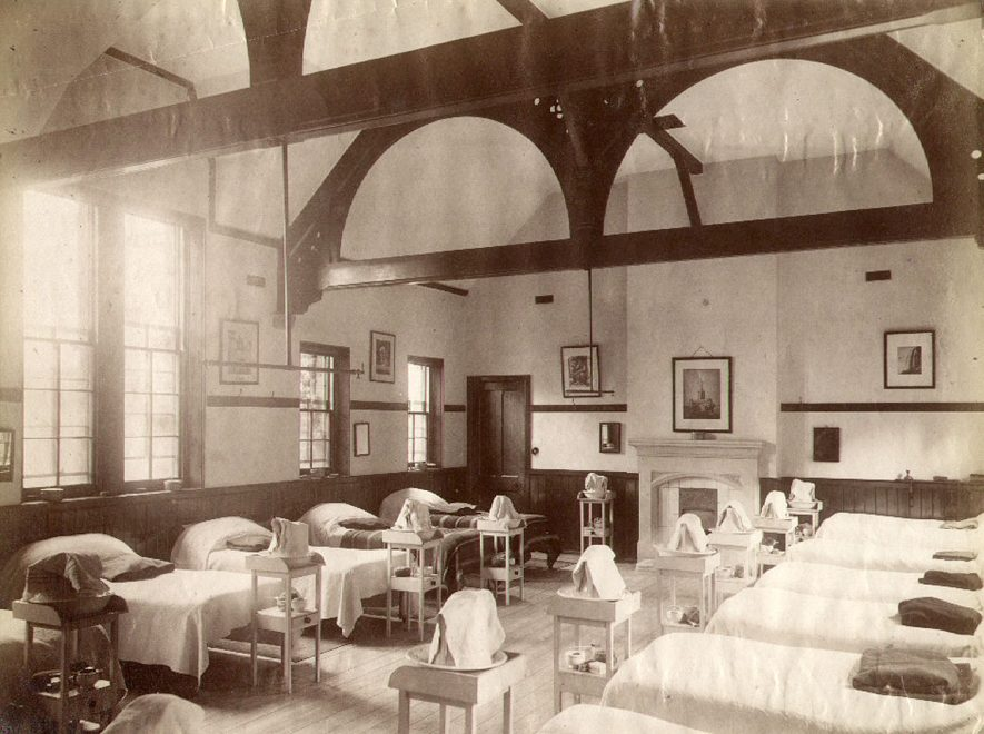Cotton House dormitory, Rugby School. Cotton House was built in 1836 and is situated at 10 Hillmorton Road. A list of housemasters can be seen in the Rugby School Register 1911- 1946, p. xxvii.  1860s |  IMAGE LOCATION: (Rugby Library)