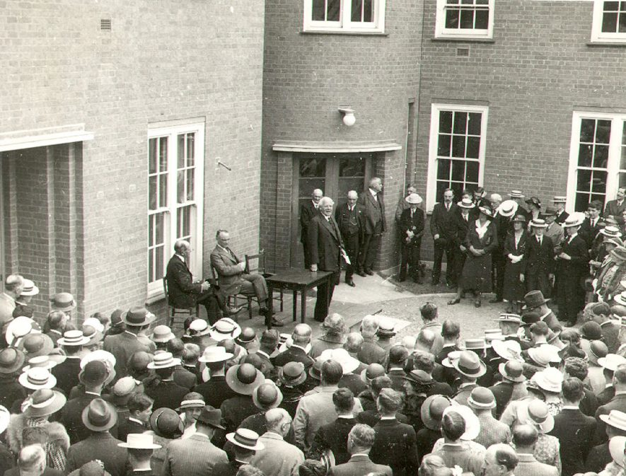 Opening of Rugby School Sanatorium by Sir Michael Sadleir on June 23rd 1934. See Rugby Advertiser - June 29th 1934. |  IMAGE LOCATION: (Rugby Library) PEOPLE IN PHOTO: Sadleir, Sir Michael, Sadleir as a surname