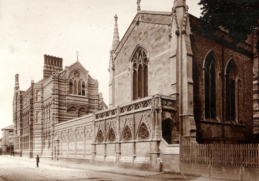 Rugby School Chapel dedicated to Saint Lawrence. This photograph shows the