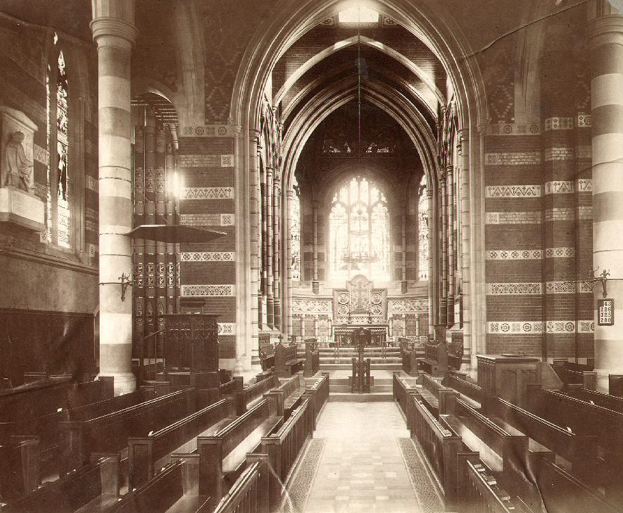 Interior of Rugby School Chapel dedicated to Saint Lawrence. This photograph shows the interior as it was when completed in 1898. See Rugby School Chapel by H.T. Rhoades, Rugby School Memorial Chapel by W.N. Wilson and Rugby by H.C. Bradbury, p.117-137. |  IMAGE LOCATION: (Rugby Library)