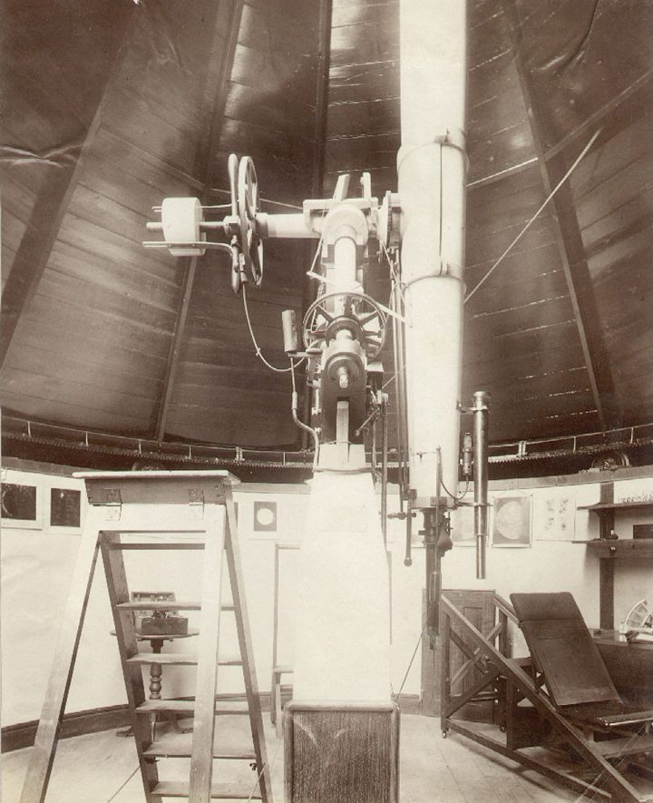 Rugby School Temple Observatory, The Crescent.  Interior view.  Observatory opened in 1878.  1890s |  IMAGE LOCATION: (Rugby Library)