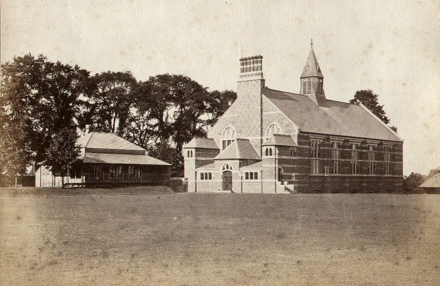 Rugby School Gymnasium. Building opened in 1872.  Ground floor fitted up as workshop in 1880.   Photograph donated by Mrs B. Barr.  1900s |  IMAGE LOCATION: (Rugby Library)