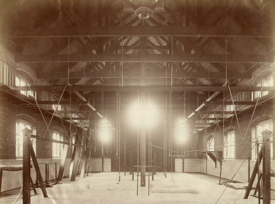 Rugby School.  Interior of gymnasium with display of apparatus.  Building opened 1872.  1880s |  IMAGE LOCATION: (Rugby Library)