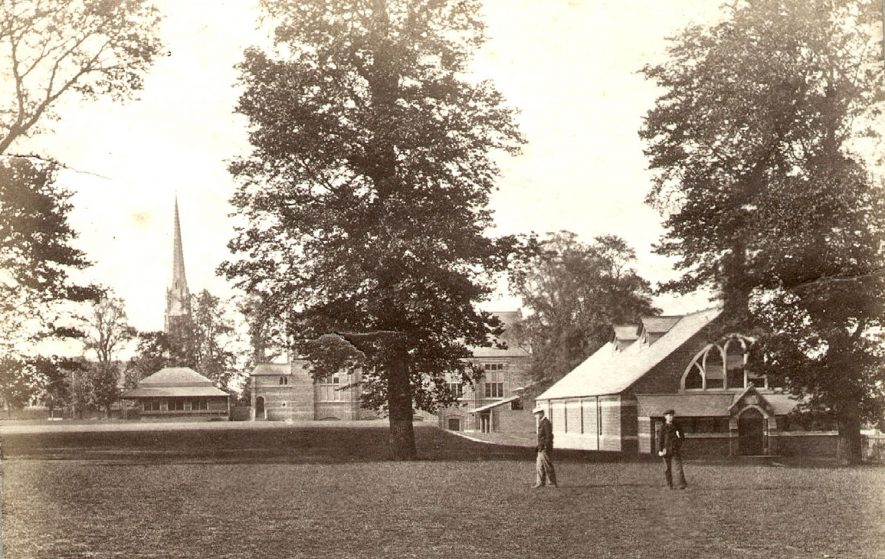 Rugby School.  Covered swimming bath, opened 1876, given by T.W. Jex-Blake, head master 1874-1887.  Bath was 70ft by 30ft and heated for year round use.  Photograph donated by Mrs B. Barr.  1890s |  IMAGE LOCATION: (Rugby Library)