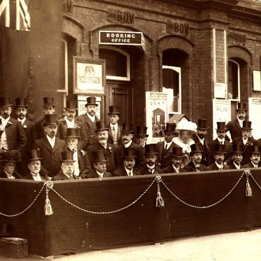 Rugby.  Railway Station, awaiting arrival of Edward VII
