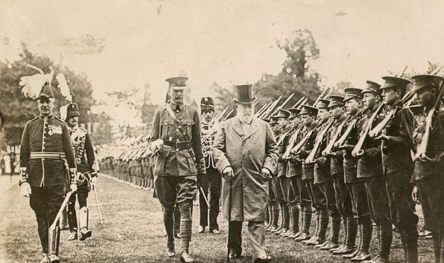 King Edward VII inspects the Cadet Corps on the occasion of the opening of the Temple Speech Room at Rugby School on July 3rd 1909 |  IMAGE LOCATION: (Rugby Library) PEOPLE IN PHOTO: Edward VII