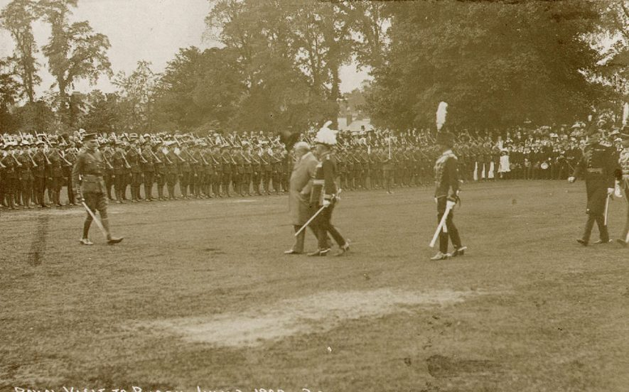 King Edward VII reviewing the Cadet Corps at Rugby School, on the occasion of the opening of the Temple Speech Room on July 3rd, 1909 |  IMAGE LOCATION: (Rugby Library) PEOPLE IN PHOTO: Edward VII