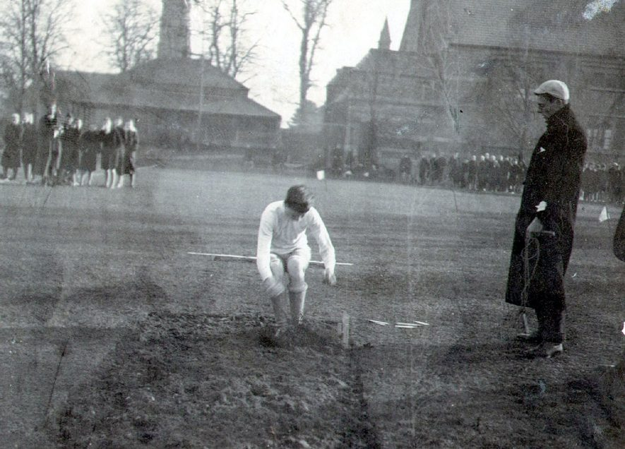 M H B Dewar competing in the long jump, Rugby School Sports.  1904 |  IMAGE LOCATION: (Rugby Library) PEOPLE IN PHOTO: Dewar as a surname, Dewar, M B H