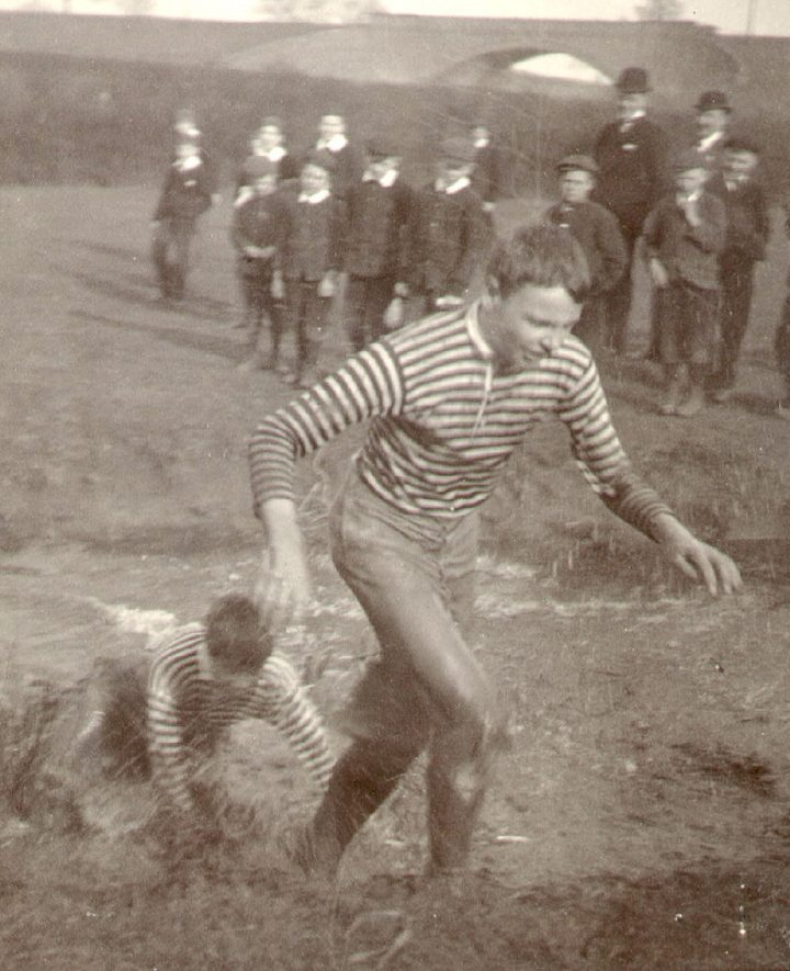Rugby School Steeplechase, crossing the River Avon.  1908 |  IMAGE LOCATION: (Rugby Library)