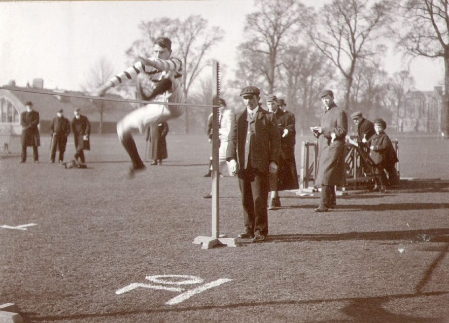 High jump at Rugby school sports.  1907 |  IMAGE LOCATION: (Rugby Library)