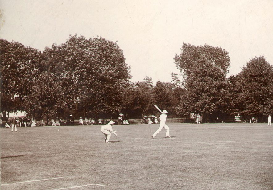 Cricket on Rugby School Close.  1900s |  IMAGE LOCATION: (Rugby Library)