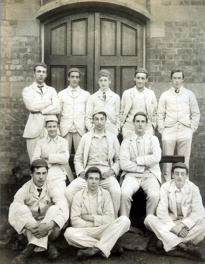 Rugby School Whitelaw House cricket XI.  Pelham (Plum) Francis Warner is on the left of the middle row.  1889 |  IMAGE LOCATION: (Rugby Library) PEOPLE IN PHOTO: Warner, Pelham (Plum) Francis, Warner as a surname