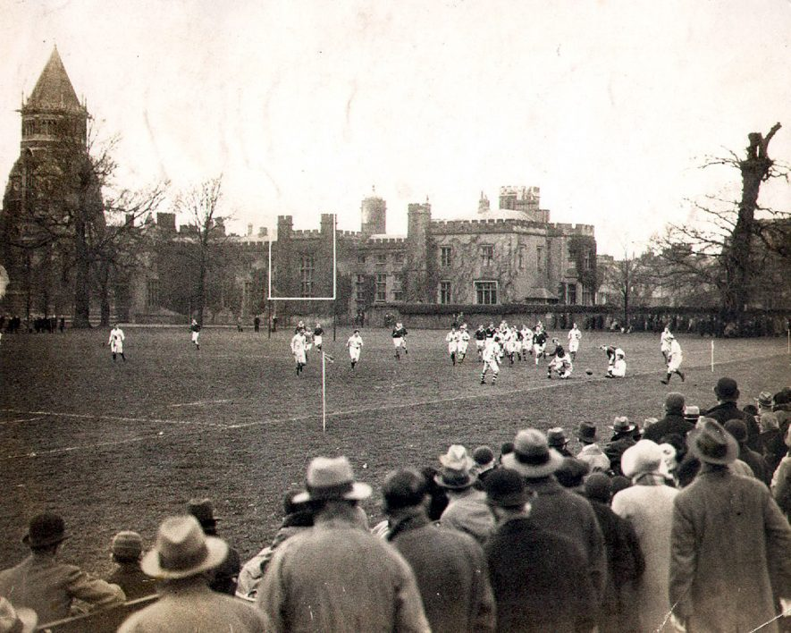 Rugby match possibly Rugby School against Eton.  1928 |  IMAGE LOCATION: (Rugby Library)