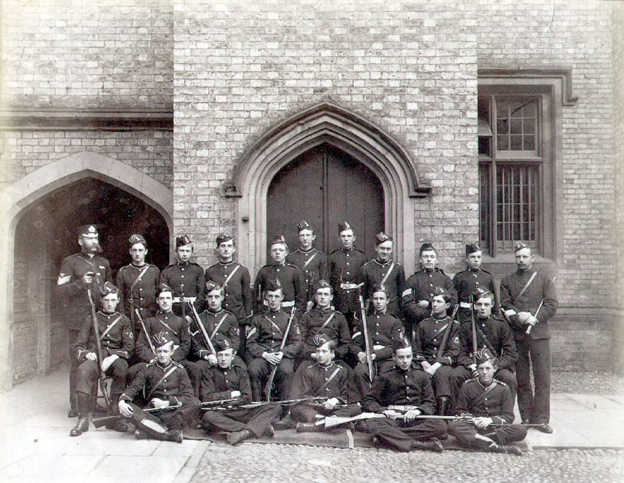 Rugby School Volunteer Rifle Corps, which formed F Company of the 2nd Volunteer Battalion, Royal Warwickshire Regiment.  1890s |  IMAGE LOCATION: (Rugby Library)