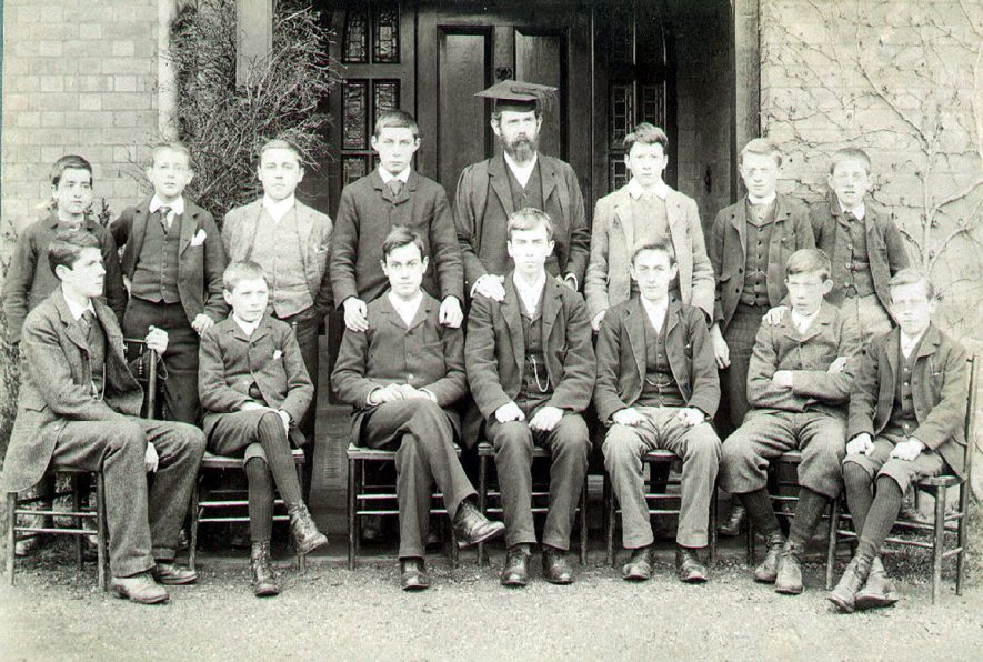 Group of boys of Lawrence Sheriff school with heamaster, Mr H V Whitehouse (formerly Weisse), Rugby.  1900s |  IMAGE LOCATION: (Rugby Library) PEOPLE IN PHOTO: Whitehouse, Mr H V (formerly Weisse), Whitehouse as a surname