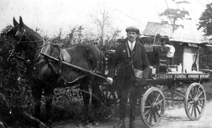 F J Cleaver of Long Lawford, hardware merchant with his horse drawn cart delivering paraffin etc.  1919 |  IMAGE LOCATION: (Rugby Library) PEOPLE IN PHOTO: Cleaver, F J, Cleaver as a surname
