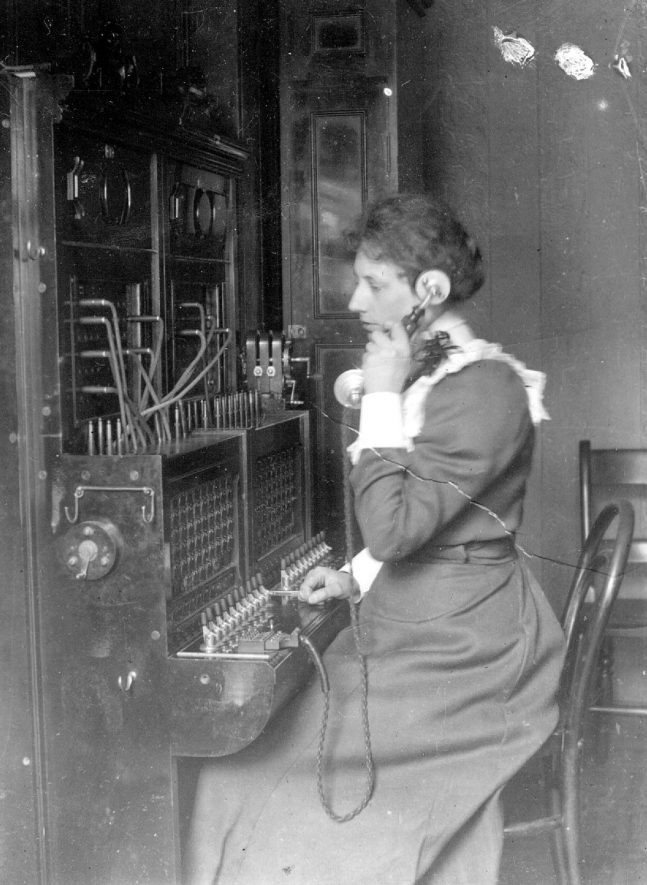 The first telephone operator, Miss Rosa Rushall in Little Church Street, Rugby.  1898    IMAGE LOCATION: (Rugby Library) PEOPLE IN PHOTO: Rushall, Miss Rosa, Rushall as a surname