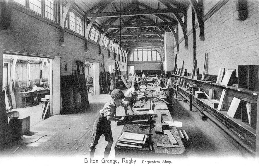 Bilton Grange School carpenters' shop with pupil's at work.  1930s |  IMAGE LOCATION: (Warwickshire County Record Office)
