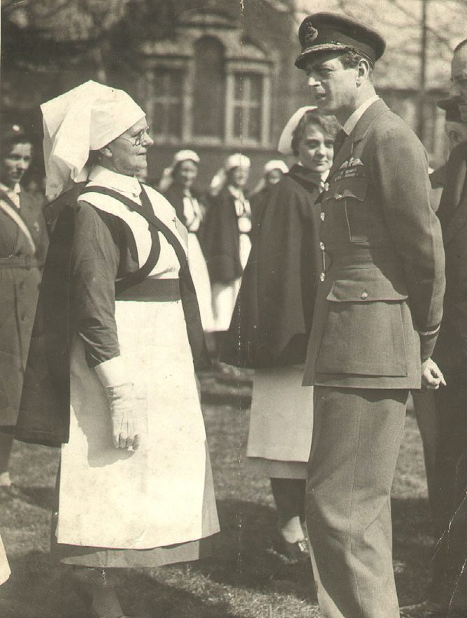 Matron Edge of Rugby Emergency Hospital talking to H.R.H. Duke of Kent during a visit in 1942. |  IMAGE LOCATION: (Rugby Library) PEOPLE IN PHOTO: Kent, H.R.H. Duke of, Edge, Matron, Edge as a surname