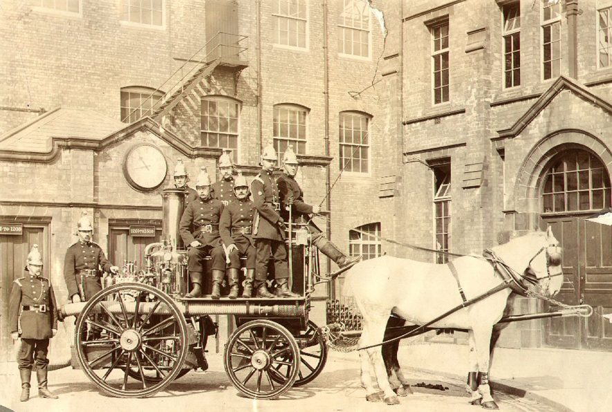 B.T.H. Fire brigade, showing a horse drawn fire engine, Rugby.  1904 |  IMAGE LOCATION: (Rugby Library)