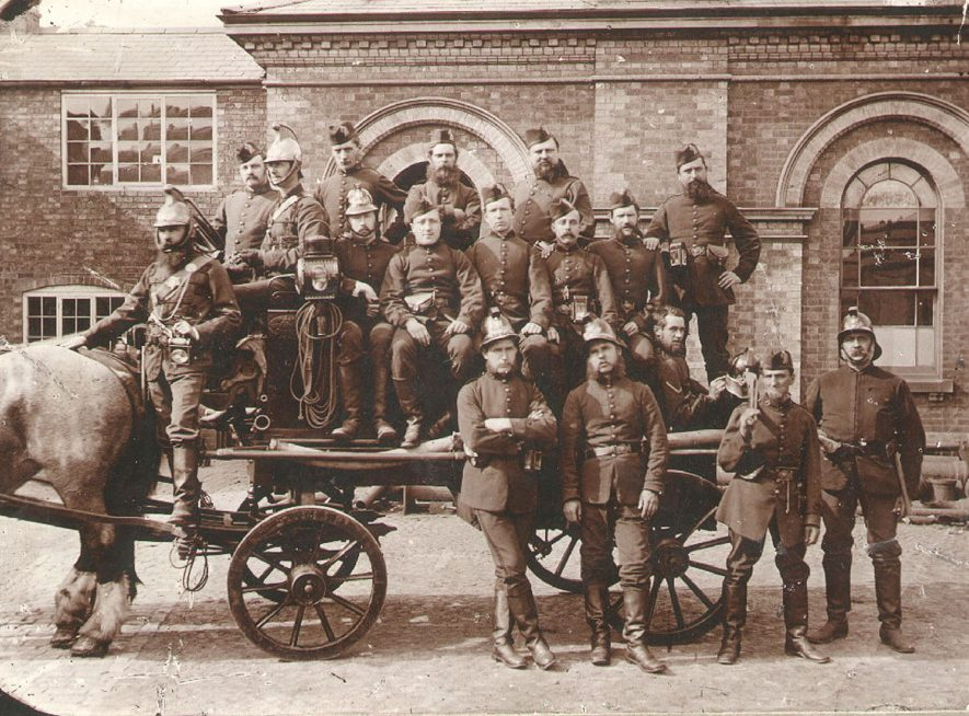 Rugby Volunteer Fire Brigade pictured outside the old Board of Health Building in Chapel Street.  1880s |  IMAGE LOCATION: (Rugby Library)