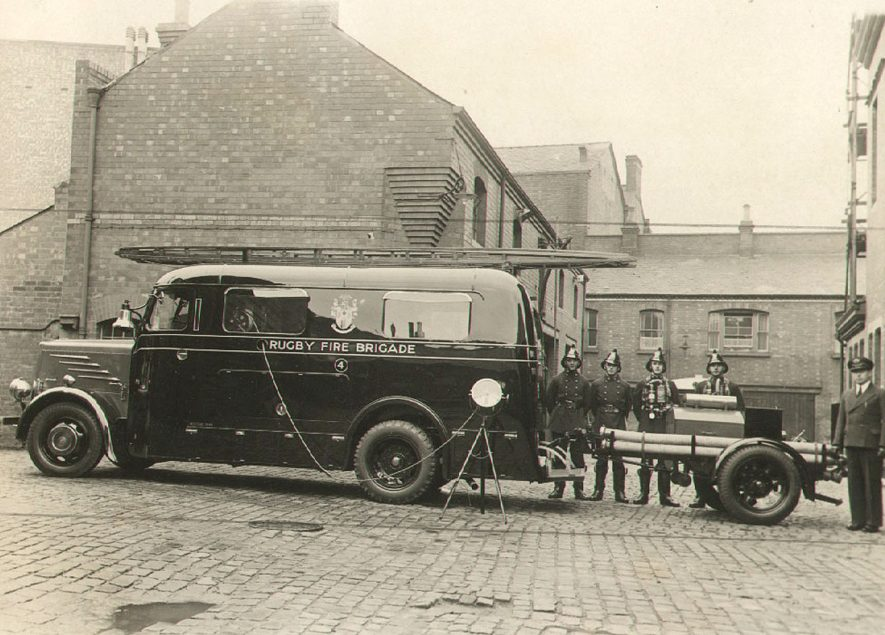 Rugby Fire Brigade.  Fire Engine.  1930s |  IMAGE LOCATION: (Rugby Library)