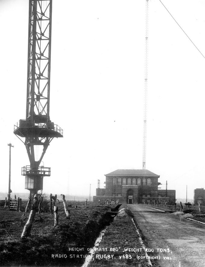Rugby radio station showing the base of one of the main masts, and the main building.  1926 |  IMAGE LOCATION: (Rugby Library)
