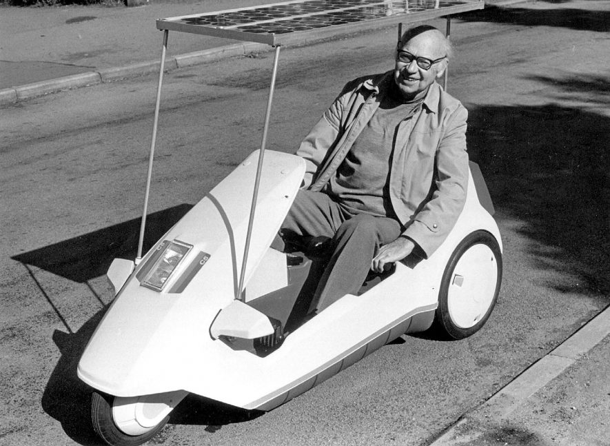 A Sinclair C5 tricycle converted to solar energy by Rugby man Mr. Alan Freeman.  1980s |  IMAGE LOCATION: (Rugby Library) PEOPLE IN PHOTO: Freeman as a surname, Freeman, Alan