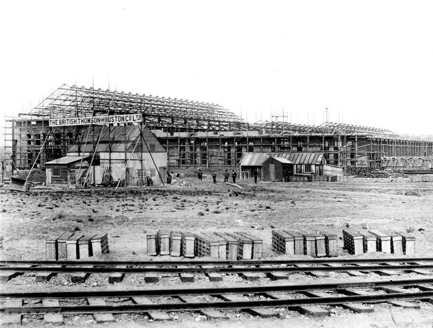 B.T.H. works under construction, showing the South front, Rugby.  1900  By permission ALSTOM Power |  IMAGE LOCATION: (Rugby Library)