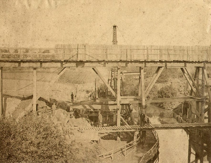 Process of building a railway bridge for L.N.W.R over the Oxford Canal at Hillmorton.  1880 |  IMAGE LOCATION: (Rugby Library)