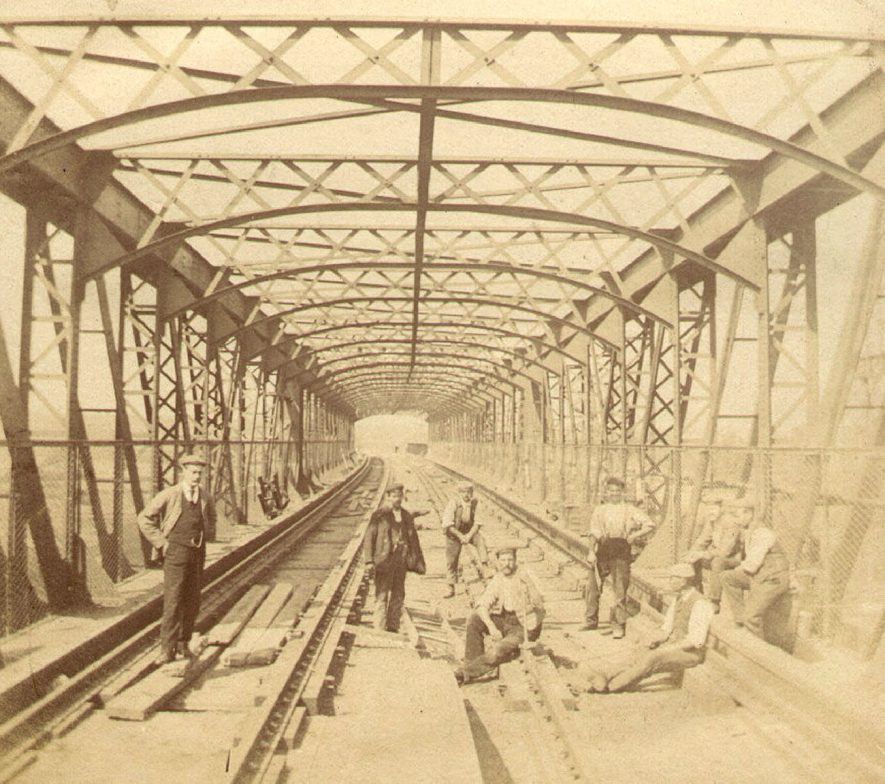 Building of the Girder Bridge on the Great Central Railway, Rugby.  1890s |  IMAGE LOCATION: (Rugby Library)
